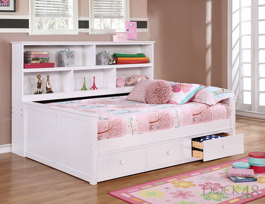 full size sidways bed w 3 drawer under storage white dock48 full beds traditional beds. Black Bedroom Furniture Sets. Home Design Ideas