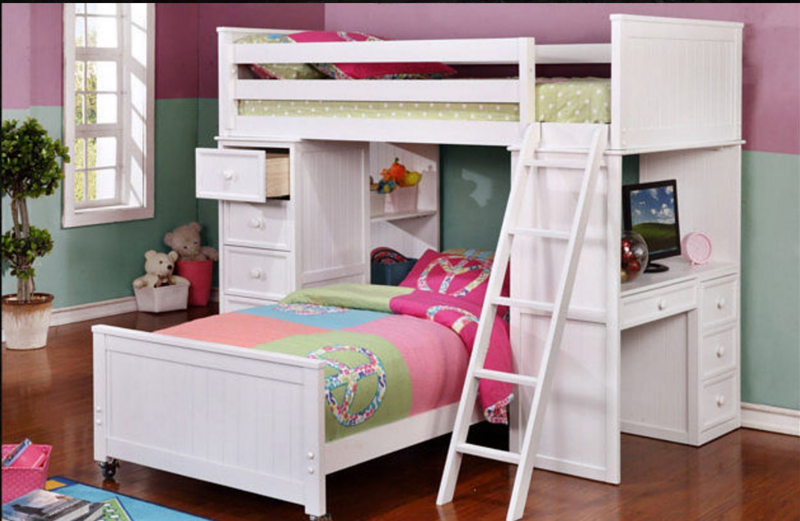 Student Loft White Dock48 Beadboard Bunk Beds Bed Collections