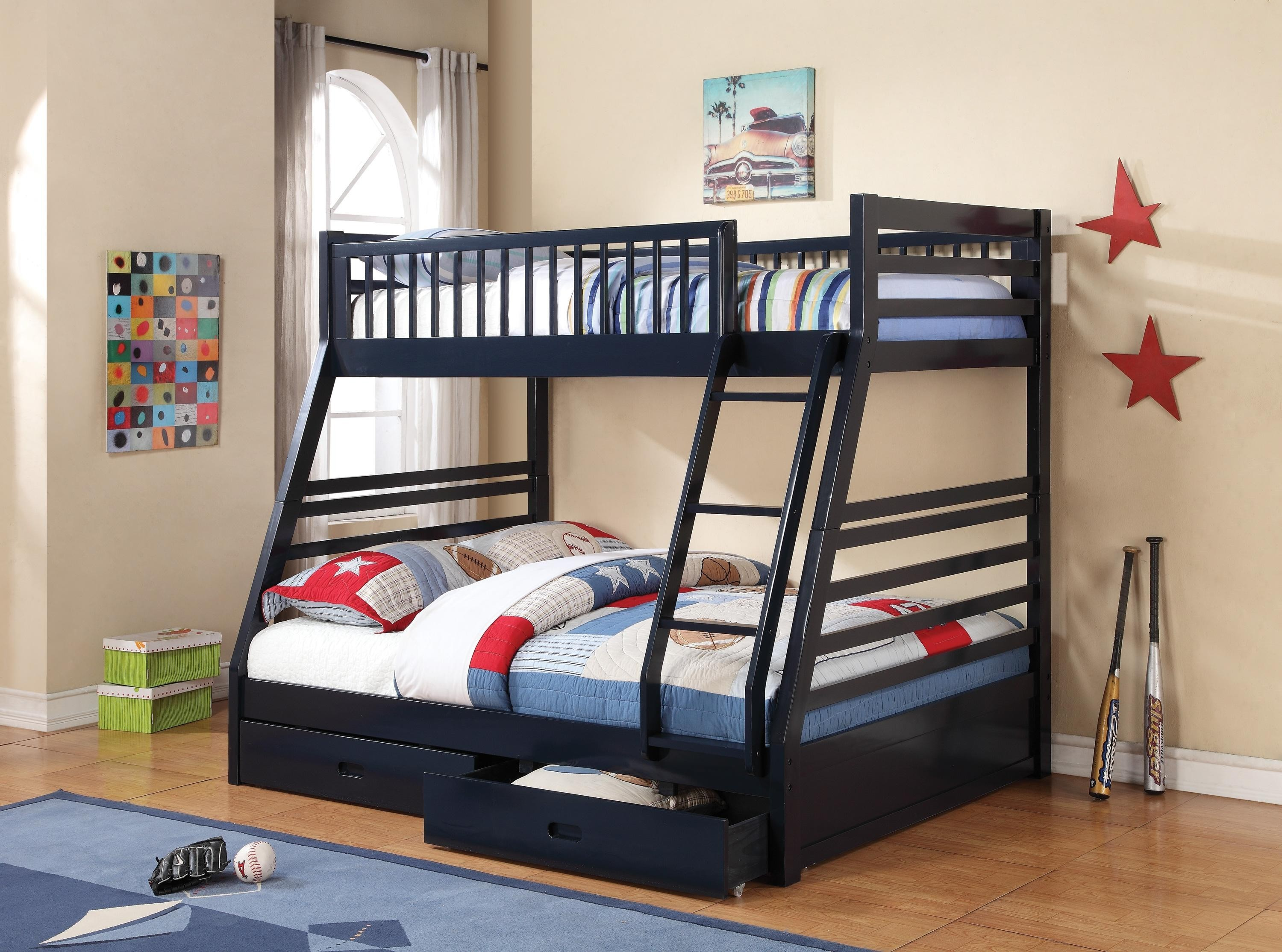 Ashton Bunk Bed   Navy Blue   Coaster Furniture