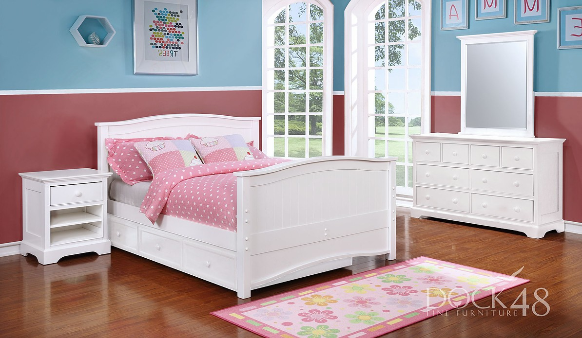 Ashton Full Bed w/ Trundle/ Storage - White - Dock48
