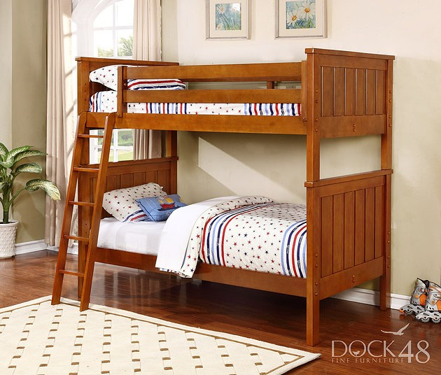 Jordan Twin over Twin Bunk Bed - Rustic Pecan