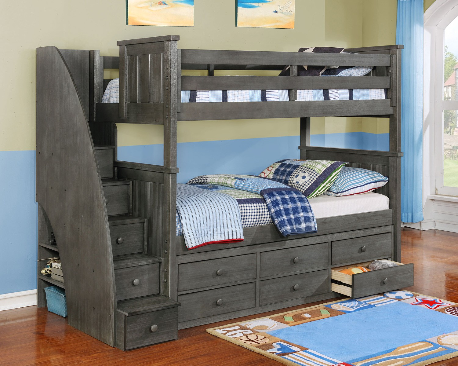 Jordan Twin Over Twin Stair Bunk Bed Weathered Grey Bunk Bed