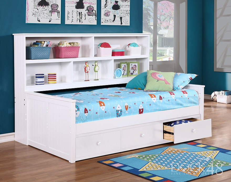 Details About White 3 Piece Storage Drawers Twin Bed Box: Twin Size Sidways Bed W/ 3 Drawer Under Storage
