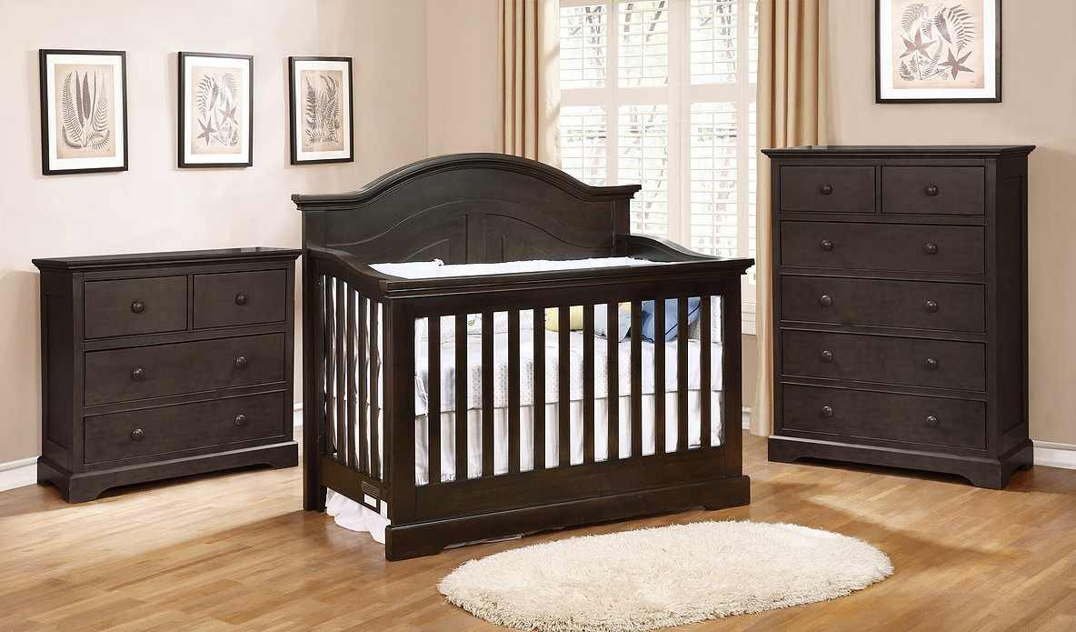 Waterford Curved Top Conversion Crib - Graphite