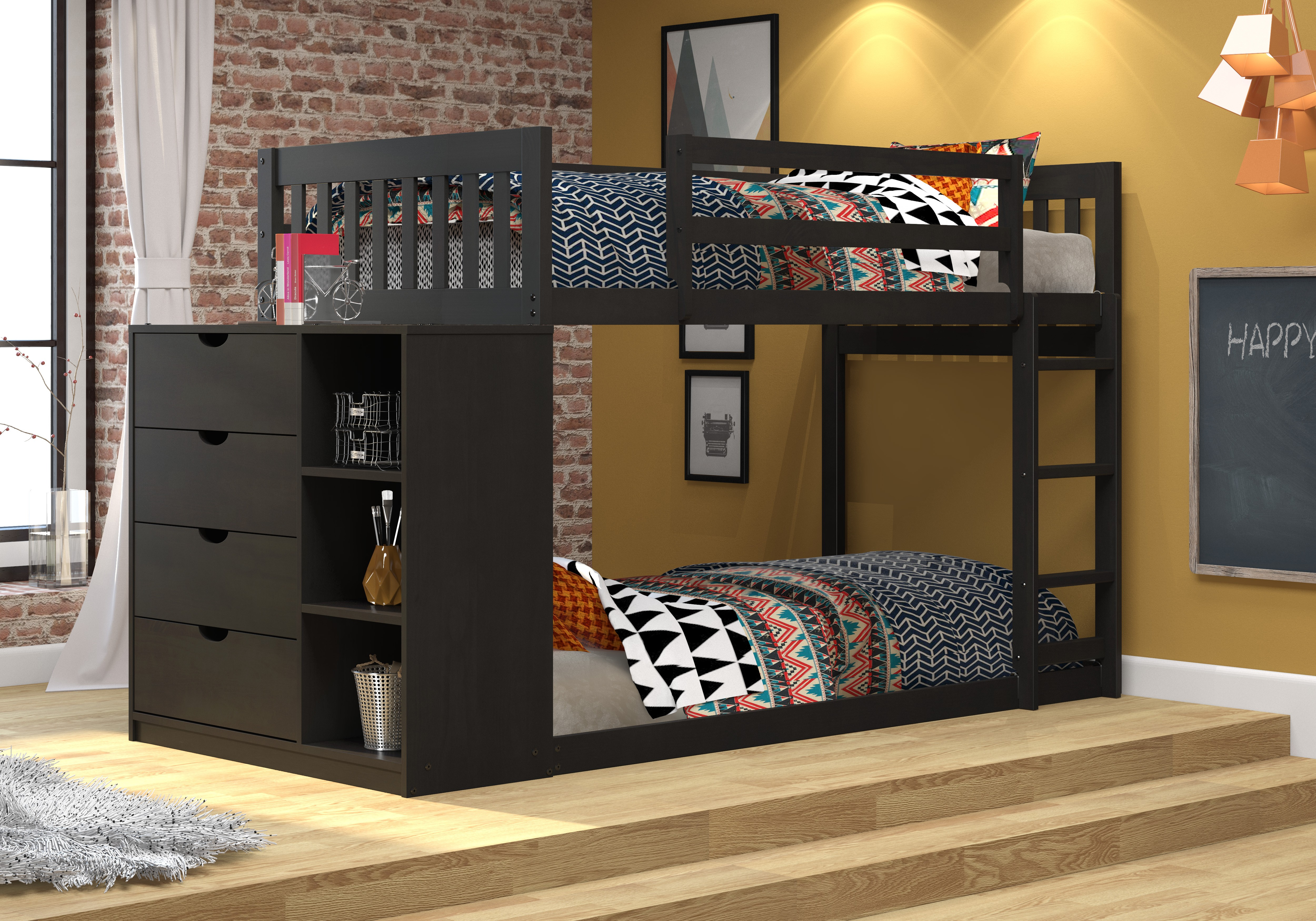 Mission Twin/Twin Chest Bunk - Black Brown