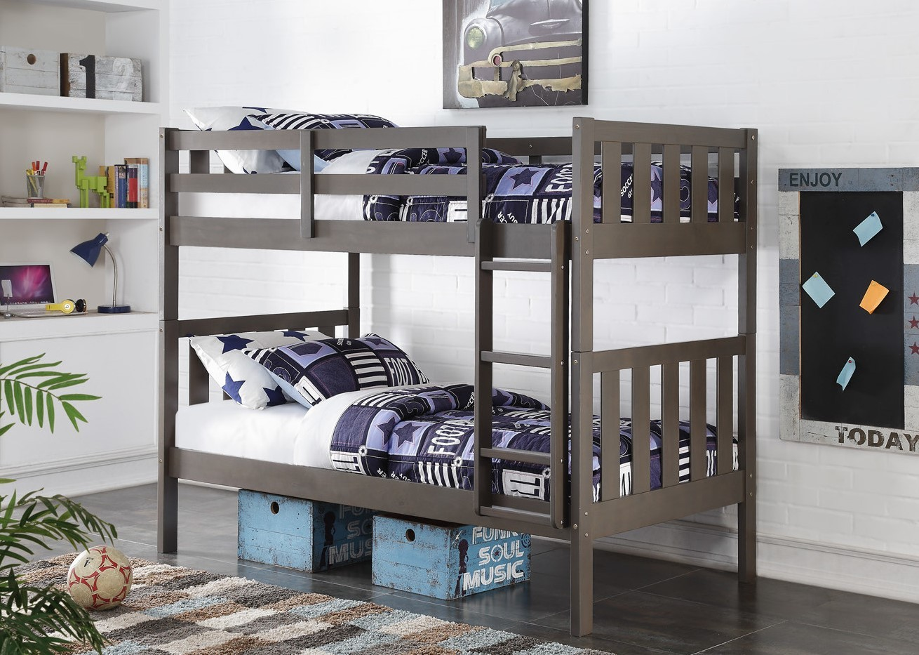 Twin/Twin Wide Mission Bunkbed - Slate Grey
