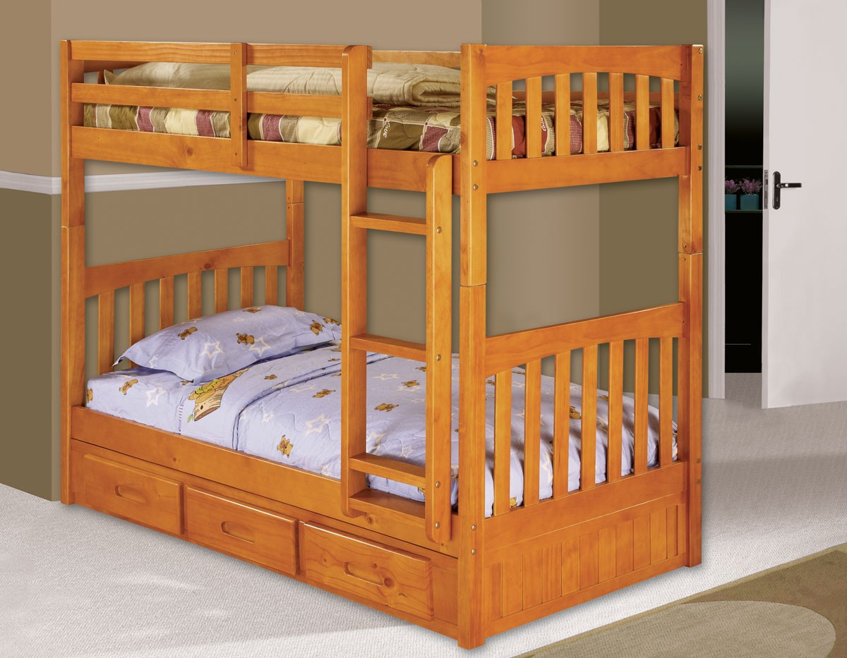 More Views  Twin over Twin Bunk Bed w/3 Drawer Underbed Storage - Honey