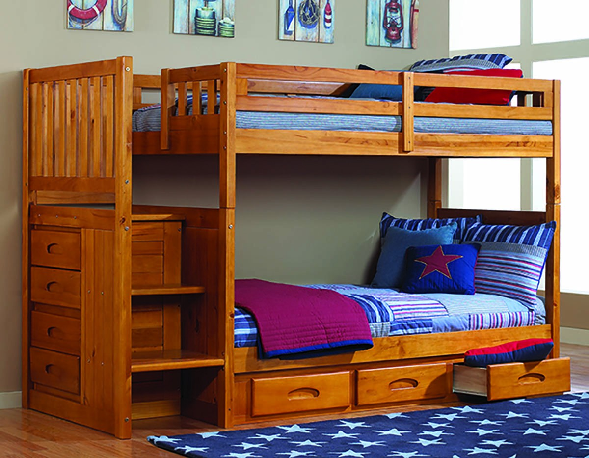 Honey Stair Stepper Twin over Twin Bunk