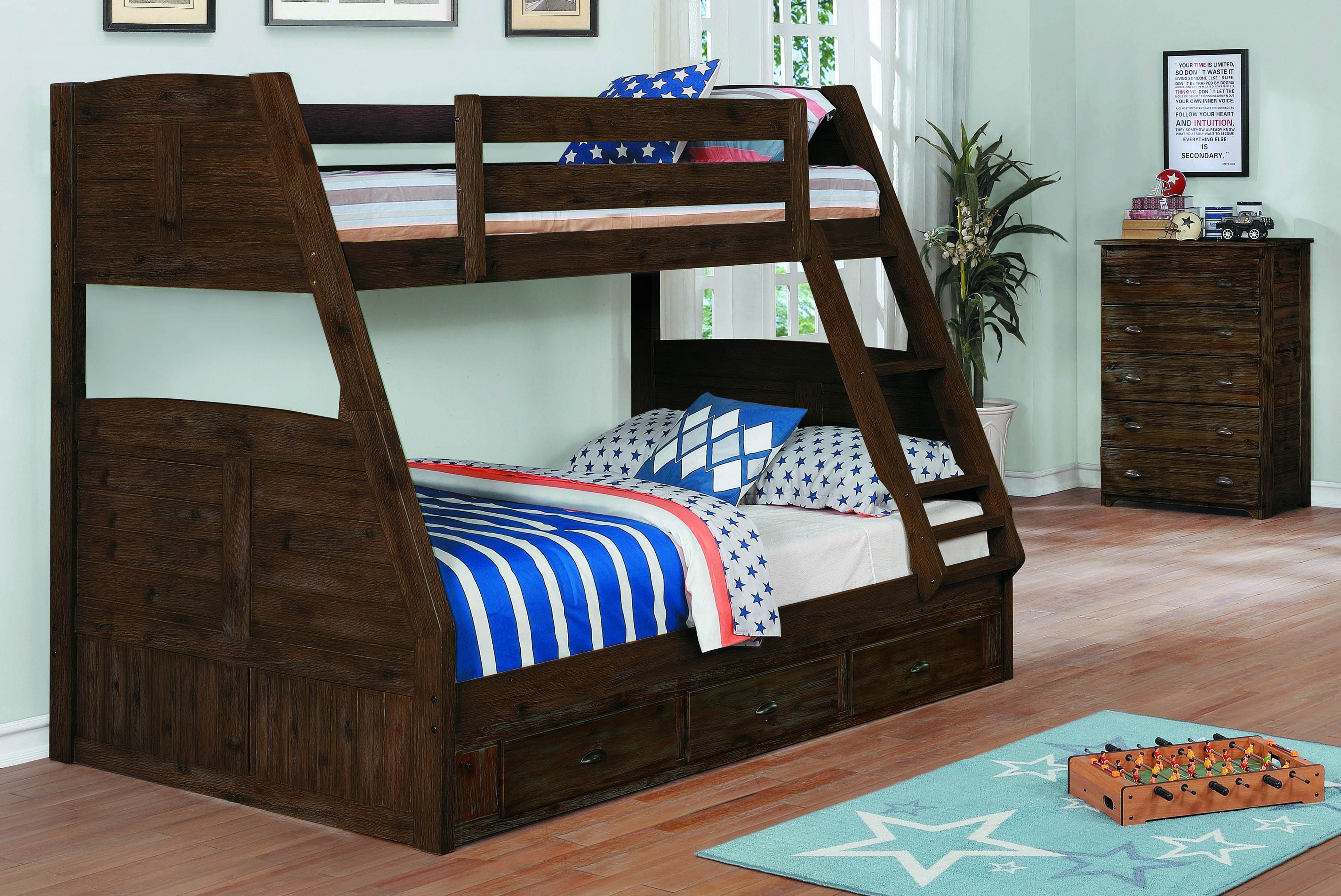 Chestnut Twin Over Full Bunk Bed W3 Drawer Underbed Storage