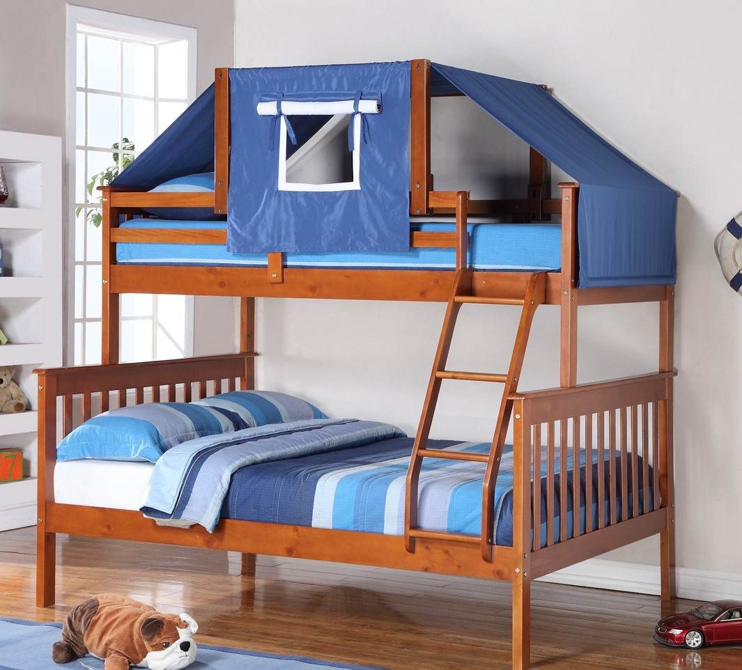 Espresso And Blue Bunk Bed Top Tent Bunk Bed Accessories Bunk Beds