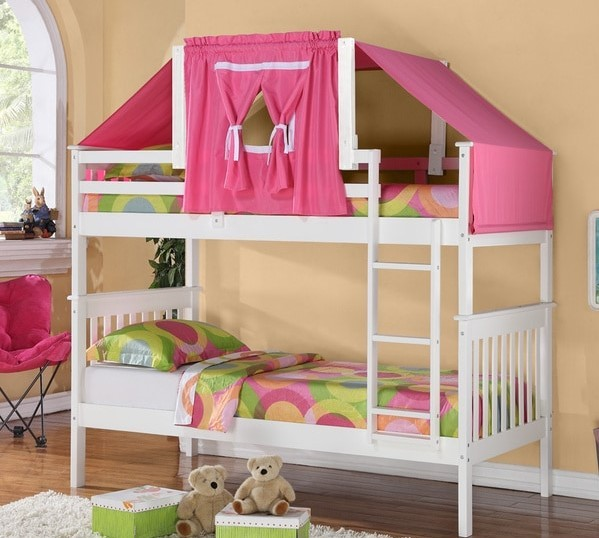 White And Pink Bunk Bed Top Tent