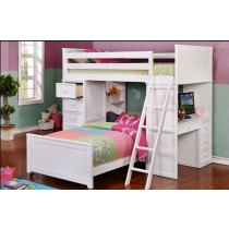 Student Loft w/Bottom Bed - White - Dock48