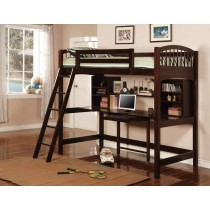 Twin Workstation Bunk Bed Finished in Cappuccino