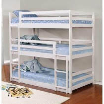 Triple Bunk Bed in White