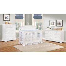 Jordan Curved Top Conversion Crib - White