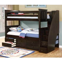 Jordan Twin over Twin Stair Bunk Bed - Graphite Grey