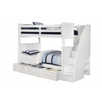 Jordan Twin over Twin Stair Bunk Bed - White