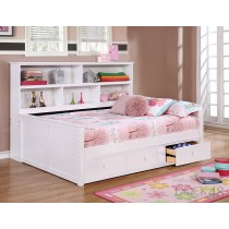 Full Size Sidways Bed w/ 3 Drawer Under Storage - White - Dock48
