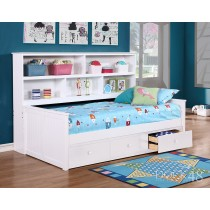 Twin Size Sidways Bed w/ 3 Drawer Under Storage - White - Dock48