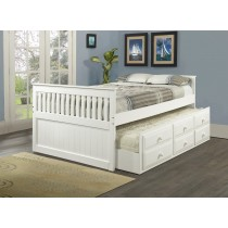 Full Daybed with Trundle over Storage Drawers - White - Donco Kids