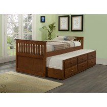 Twin Daybed with Trundle over Storage Drawers - Espresso - Donco Kids