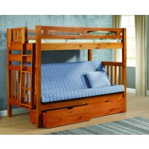 Twin/Futon Tall Bunkbed - Honey