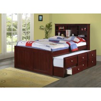 Full Bookcase Captains Trundle Bed