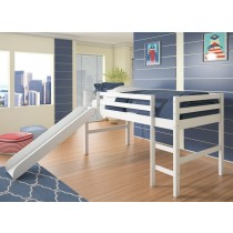 Twin Low Loft w/Slide - White