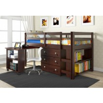 Twin Low Loft w/ Chest, Bookcase and Pull Out Desk with Bookcase End - Cappuccino
