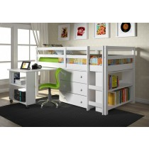 Twin Low Loft w/ Chest, Bookcase and Pull Out Desk with Bookcase End - White