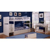 White Stair Stepper Twin over Twin Bunk
