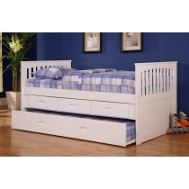 Twin White Rake Bed w/Trundle and Storage