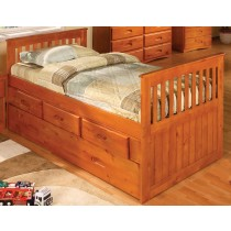 Twin Honey Rake Bed w/Trundle and Storage