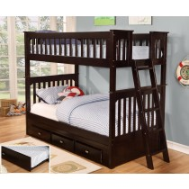 Twin over Twin Bunk Bed w/3 Drawer Underbed Storage - Espresso
