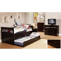 Twin Espresso Rake Bed w/Trundle and Storage
