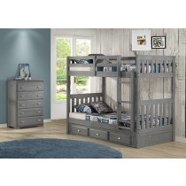 Twin over Twin Bunk Bed w/3 Drawer Underbed Storage - Charcoal