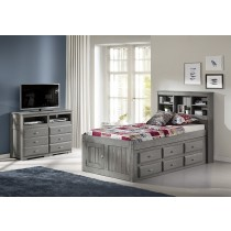 Charcoal Twin Bookcase Captains Bed w/6 Drawer Underbed Storage