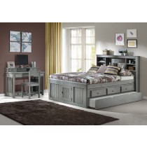 Charcoal Full Bookcase Captains Bed w/Storage and Trundle