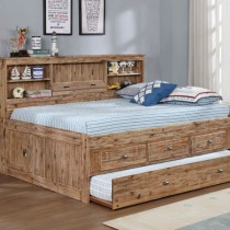 Sand Full Bookcase Daybed w/3 Drawer Storage and Twin Trundle