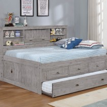 Grey Full Bookcase Daybed w/3 Drawer Storage and Twin Tundle - Grey