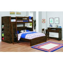 Chestnut Twin over Full Loft Bed w/Twin Trundle