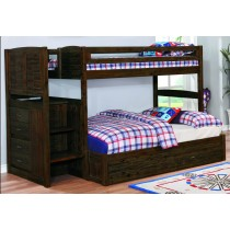 Chestnut Stair Stepper Twin over Full Bunk Bed w/Twin Trundle
