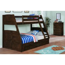 Chestnut Twin over Full Bunk Bed w/3 Drawer Underbed Storage