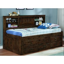 Chestnut Twin Bookcase Daybed w/6 Drawers