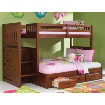 Merlot Stair Stepper Twin over Full Bunk Bed