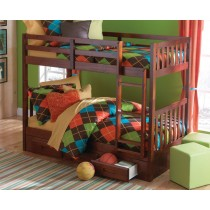 Twin over Twin Bunk Bed w/3 Drawer Underbed Storage - Merlot