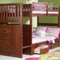 Merlot Stair Stepper Twin over Twin Bunk Bed