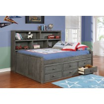 Full Size Sidways Bed w/ 6 Drawer Under Storage - Weathered Grey - Dock48
