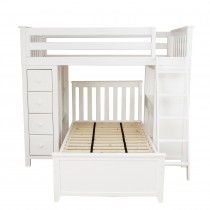 Kensington 1 - All in One Loft Bed Storage Study + Twin Bed White