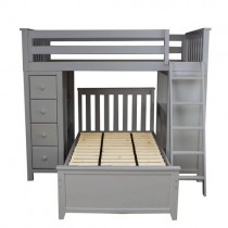Kensington 1 - All in One Loft Bed Storage Study + Twin Bed Grey
